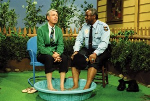 Fred Rogers and François Clemmons in an episode of <i>Mister Rogers' Neighborhood</i>, 1993