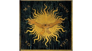 Representation of Magnum Chaos (before the Creation took place): wood marquetry by Giovan Francesco Capoferri after Lorenzo Lotto (1480-1556) - 16th century - Church of Santa Maria Maggiore, Bergamo
