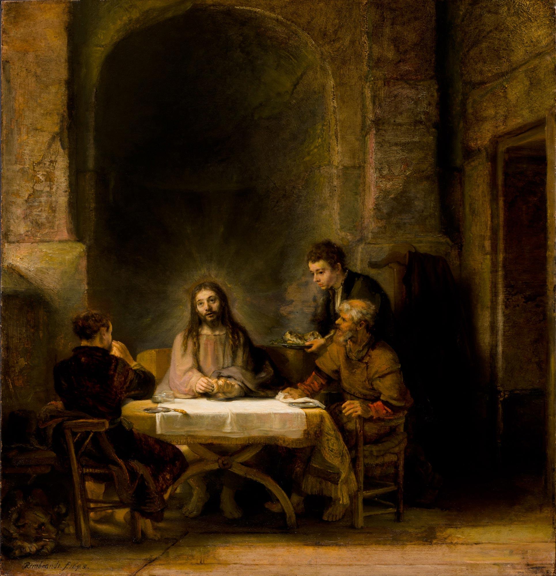 Rembrandt - Emmaus Road Jesus with Disciples.jpg