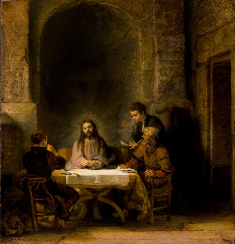 Rembrandt - Emmaus Road Jesus with Disciples.jpg