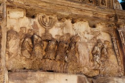 A bas-relief depicting the sack of Jerusalem on the Arch of Titus in the Roman Forum, constructed in 82 CE